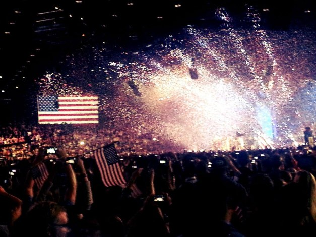 If you could see through the confetti you'd see President Obama, I swear. Photo Credit: Amar Shah