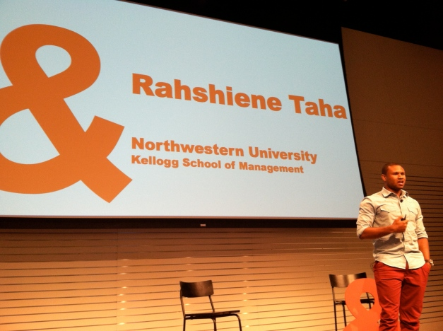 "Rahshiene Taha '14 during his talk to the Nike community for the ""SpeakUp!"" series"