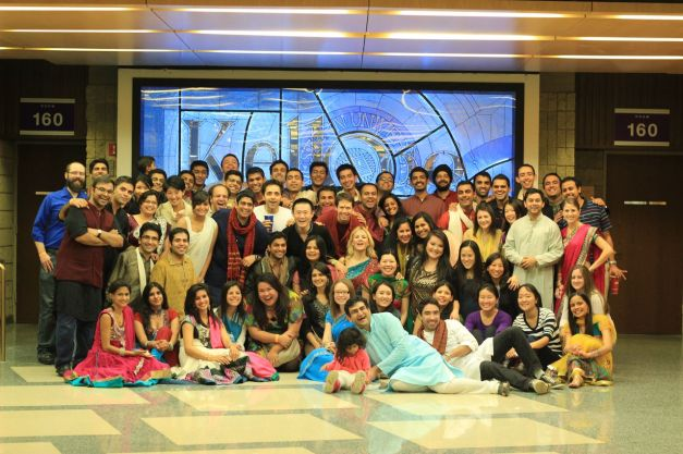 Attendess of the Diwali Party gather together for a group photo