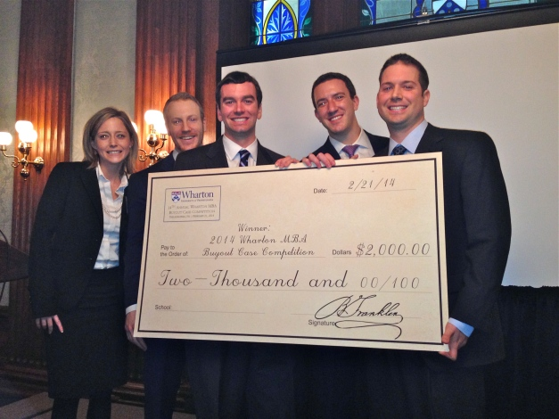 The winners of the 2014 Wharton Private Equity Buyout Case Competition. From left, Emma Gergen '14, Keith Roux '14, Garrett Greer '14, Ben Kaplan '15 and Andrew Welch '14.