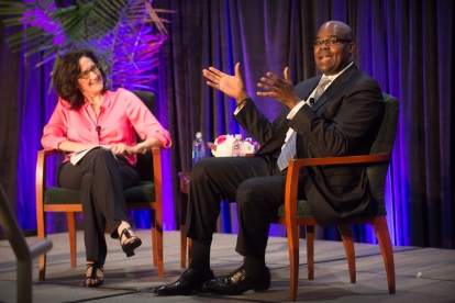 Don Thompson, McDonald's President and CEO, talks with Dean Sally Blount at Kellogg Brave Leaders.
