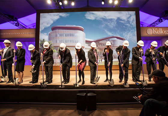 At Groundbreaking, the dirt is turned by senior faculty from Northwestern and Kellogg, campaign committee co-chair, KSA student leader, design team from KPMB Architects, and NU Trustees.