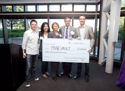 Pictured here with NUVC sponsors and NU alumni Bob and Charlene Shaw, Kellogg School startup PageVault took home a total of $26,000, and first place.